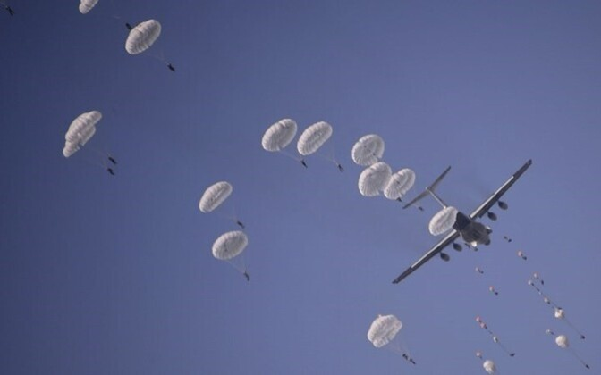 At a paratroops exercise.