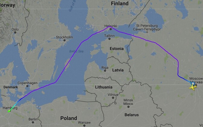 Putin's route on the way to Hamburg.