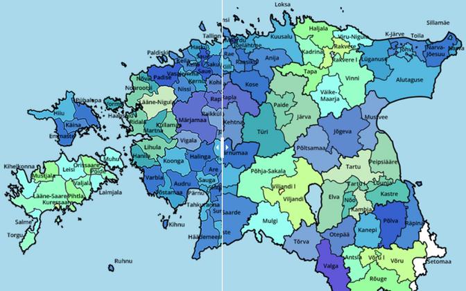 Uus Eesti kaart: 213 omavalitsuse asemel jääb alles 79.