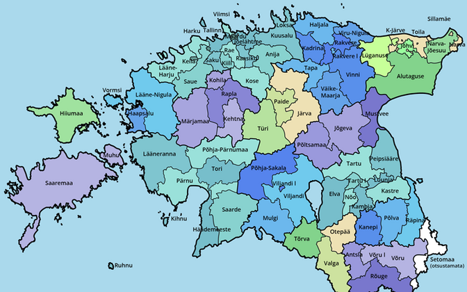 Estonia's subdivisions after the 2016/2017 administrative reform.