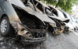 Three cars burned out completely in the fire.