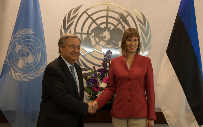 Guterres and Kaljulaid in New York, July 13, 2017.