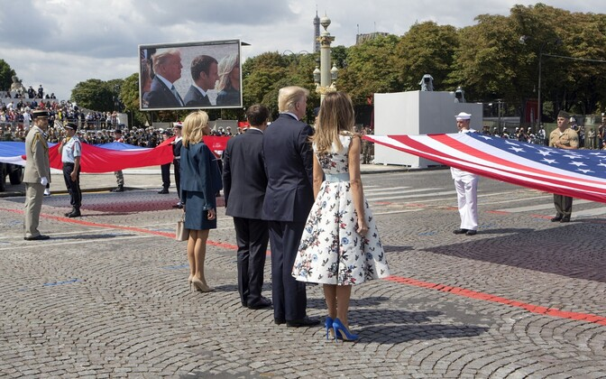 Donald Trump 14. juuli paraadil Pariisis.