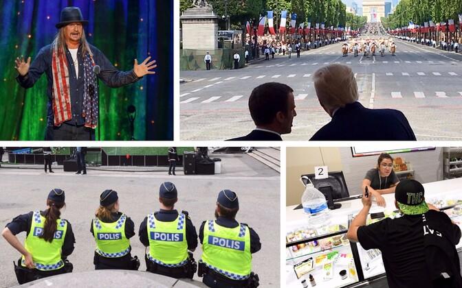 Kid Rock, Macron ja Trump paraadil, Rootsi politseinikud ja kanepipood Las Vegases.