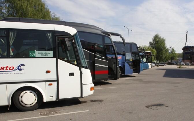 Bussid Tartu bussijaamas, arhiivifoto.