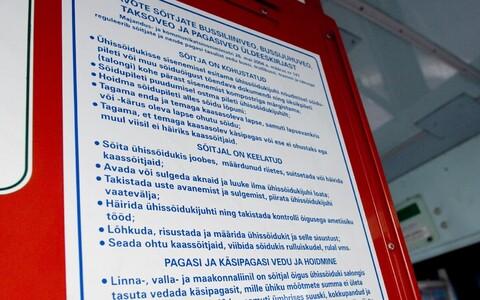 Väljavõte sõitjateveo eeskirjast Tallinna linnaliini bussis.