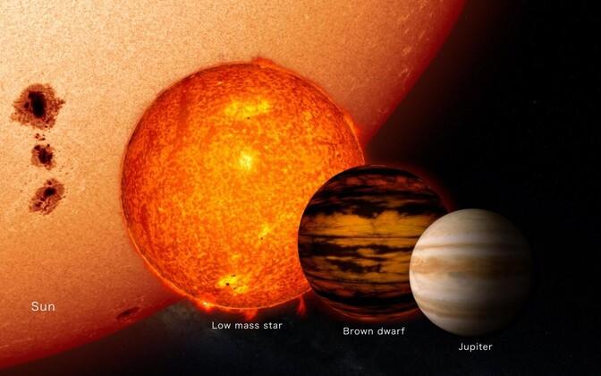 Pruun kääbus on vaid õige pisut suurem Jupiterist, veidi väiksem väikese massiga tähest ning väga palju väiksem meie Päikesest.