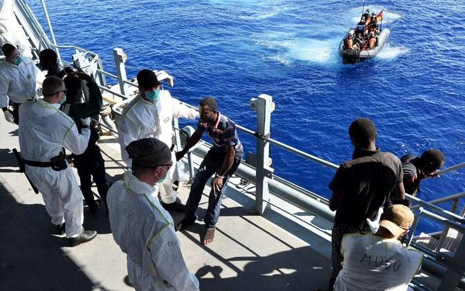Rescued migrants and refugees being transported to a German vessel participating in the EUNAVFOR Med mission. September 2015. Photo is illustrative.