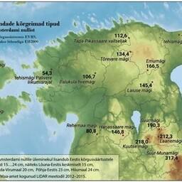 Eesti maakondade kõrgeimad tipud mõõdetuna Amsterdami nullist.