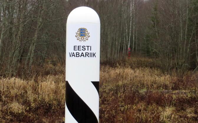Boundary post indicating the Estonian border.