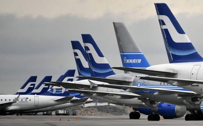 Finnairi lennukid Helsingi lennujaamas.