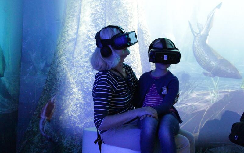 Vanaema lapselapsega loodusmuusuemi ürgmere virutaaltuuril.
