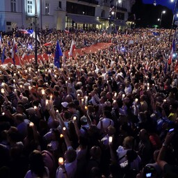Kohtureformi vastane meeleavaldus Varssavis 20. juulil.