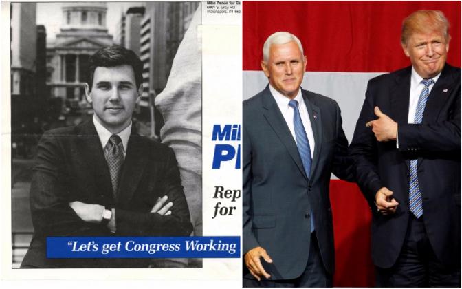 Mike Pence 1990. aasta valimiskampaania ajal ja 2016. aastal Trumpi tuuri ajal.