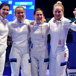 Estonian women's épée team in Leipzig. July 26, 2017.