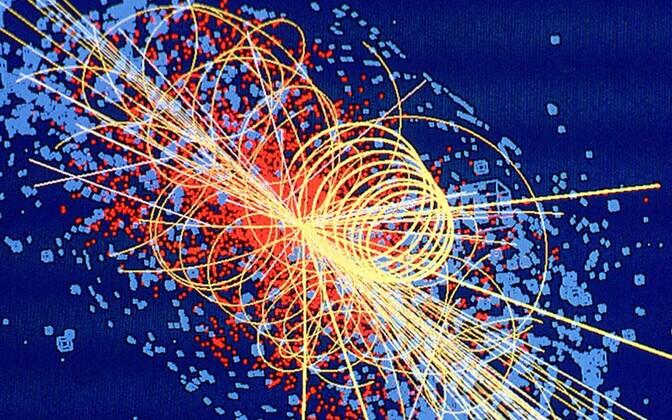 Arvutisimulatsioon prootonite kokkupõrkel tekkinud Higgsi bosonist, mille avastamisest on mõõdunud viis aastat.