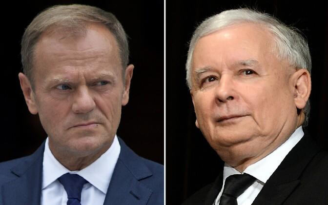 Donald Tusk ja Jaroslaw Kaczynski.