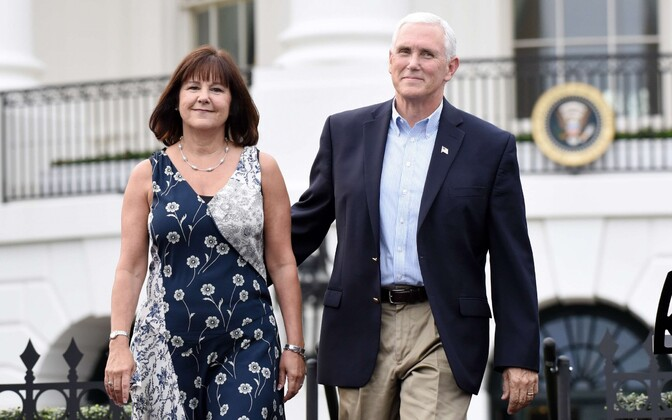 Second Lady Karen Pence and U.S. Vice President Mike Pence on the South Lawn at the White House. June 22, 2017.