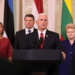 U.S. Vice President Mike Pence and the presidents of the Baltic states deliver a joint press conference at Kadriorg on Monday morning. July 31, 2017.