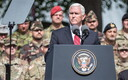 U.S. Vice President Mike Pence addressed allied troops at a formation at the Headquarters of the Estonian Defence Forces in Tallinn on Monday. July 31, 2017.