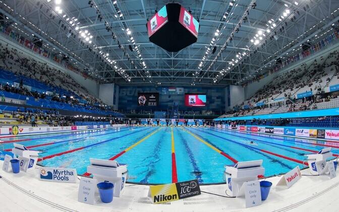 Бассейн чемпионата мира по водным видам спорта в Будапеште.