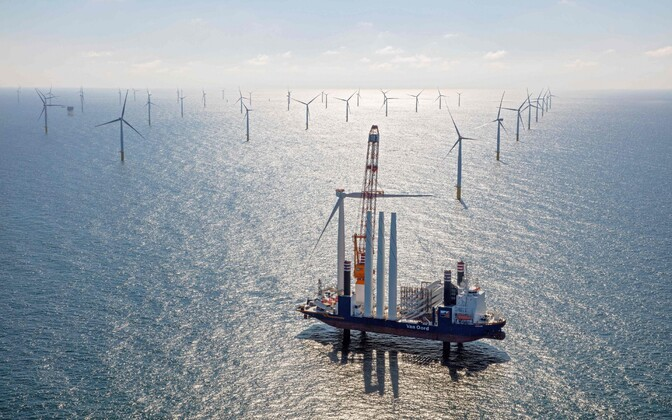 Gemini Windpark, a Dutch offshore wind farm, being constructed in the North Sea. May 3, 2017. Photo is illustrative.