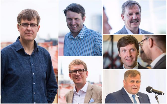 Индрек Кийслер (слева) и пять кандидатов в мэры Таллинна.