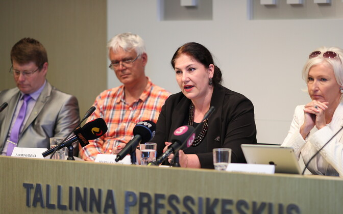 Maria Kaljuste (second to right) and Kristiina Ojuland (right) introduced the election coalition
