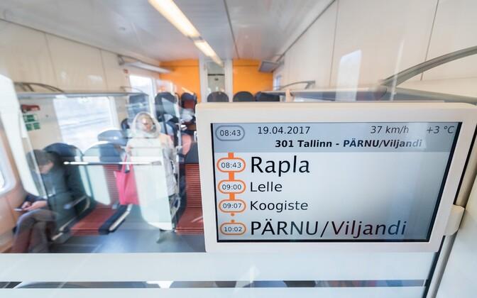 Info screen displaying upcoming stops on a Pärnu train.