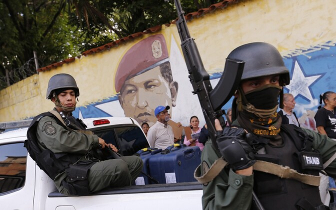 Venezuela sõdurid pealinn Caracases.