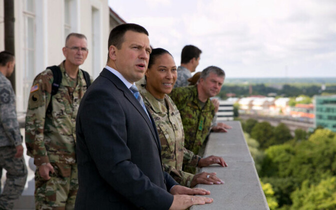 Prime Minister Jüri Ratas with Commander of the Maryland Army National Guard Maj. Gen. Linda Singh.