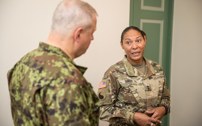 Commander of the Maryland Army National Guard Maj. Gen. Linda Singh met with members of the Estonian Defence Forces on Monday. Aug. 7, 2017.