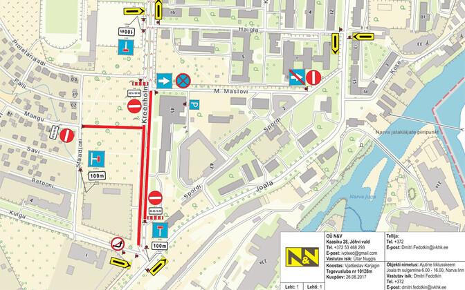 Схема закрытия улиц в Нарве.