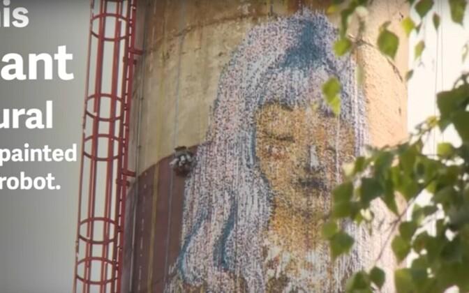 30-метровое граффити в тарту нарисовал робот.