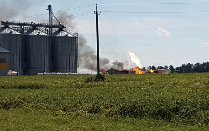 Пожар в газово-топливном хранилище.