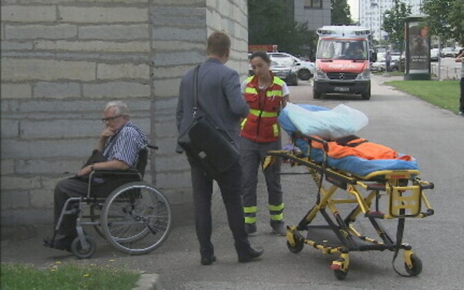 Paramedics took Savisaar to the hospital for a checkup. Aug. 10, 2017.