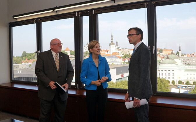 U.S. Ambassador to Estonia James D. Melville, Jr., Sen. Elizabeth Warren (D-Mass.) and Minister of Foreign Affairs Sven Mikser (SDE) in Tallinn on Thursday. Aug. 10, 2017.