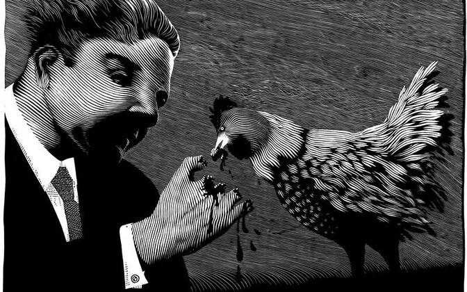 Peeter Allik. Kunstnik ja tema kana. Linoollõige, 1998.