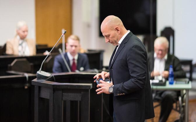Paavo Pettai testifying in Harju County Court on Thursday. Aug. 17, 2017.
