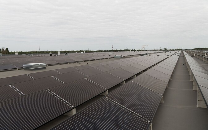 Solar panels at a renewables power plant in Estonia.