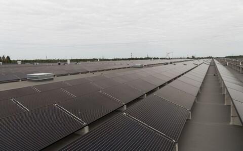 Solar panels at a renewables power plant in Estonia.