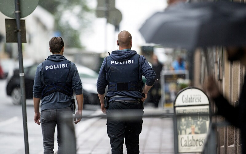 Police in Turku after a deadly knife attack on Friday afternoon. Aug. 18, 2017.