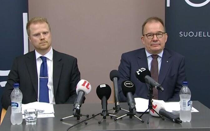 Следователь и глава Supo Пекка Хилтунен и Антти Пелттари на пресс-конференции 19.08.2017.