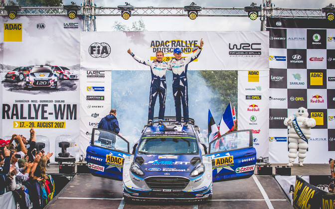 Ott Tänak wins second career WRC in Germany. Aug. 20, 2017.