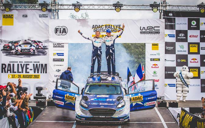 Ott Tänak wins second career WRC in Germany. Aug. 20, 2017.