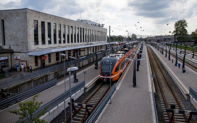 Elron trains waiting outside of Baltic Station, Tallinn.