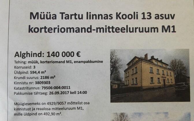 Tartu Kooli 13 korteriomandi enampakkumise kuulutus.