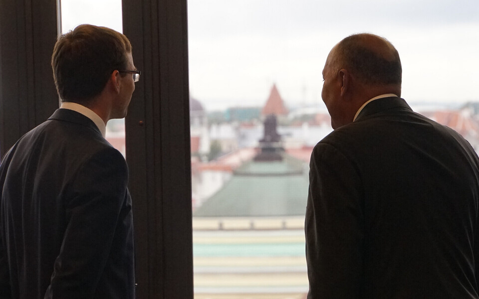 Minister of Foreign Affairs Sven Mikser (SDE) and Egyptian Minister of Foreign Affairs Sameh Hassan Shoukry in Estonia on Tuesday. Aug. 22, 2017.