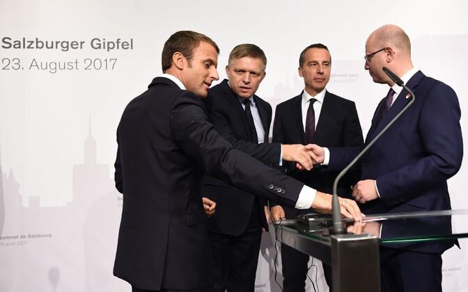 Vasakult: Macron, Fico, Kern ja Sobotka.