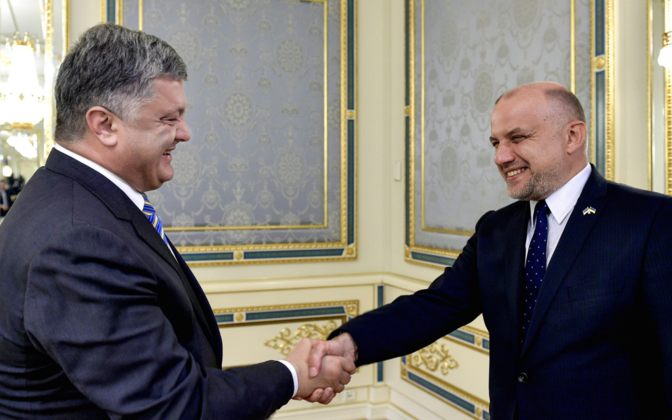 Poroshenko receives Luik in Kiev, Aug. 24, 2017.